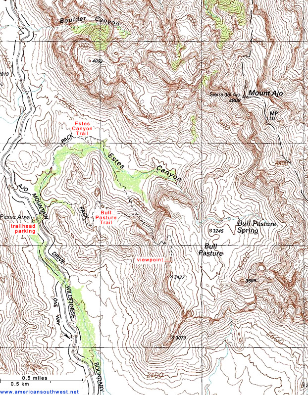 Topographic Map Of The Bull PastureEstes Canyon Trail Organ Pipe - Arizona topographic map