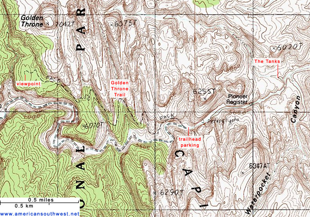 Map of the Capitol Gorge Trail