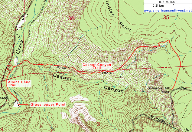 Map of the Casner Canyon and Allens Bend trails