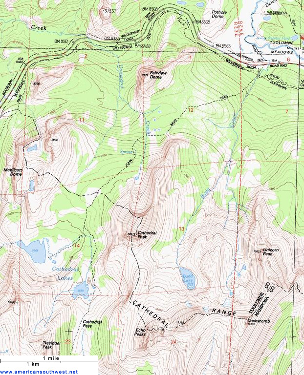 Map of the Cathedral Lakes Trail