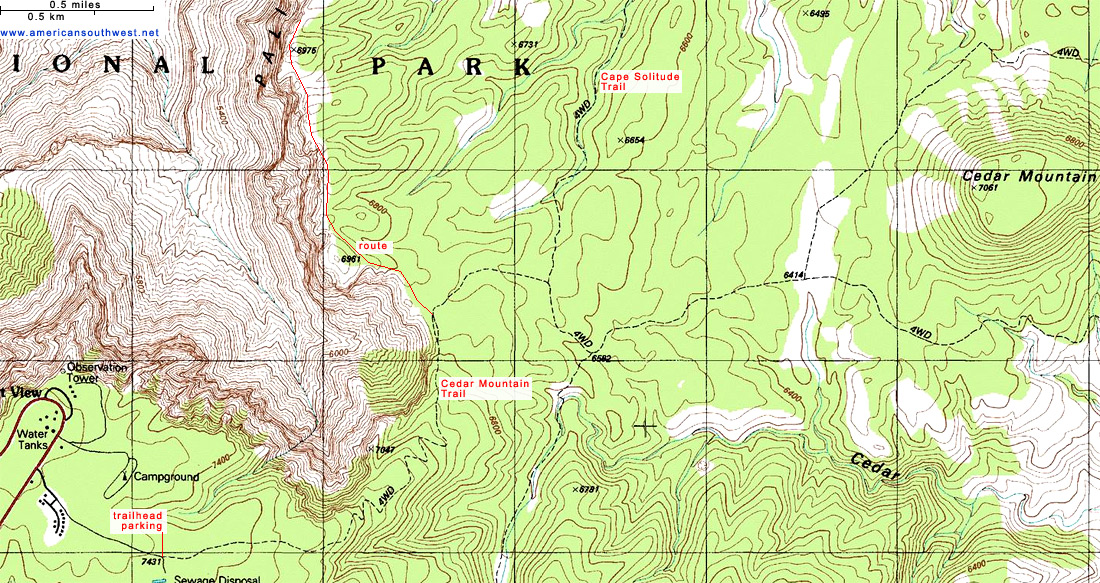 Map of the Cedar Mountain Trail