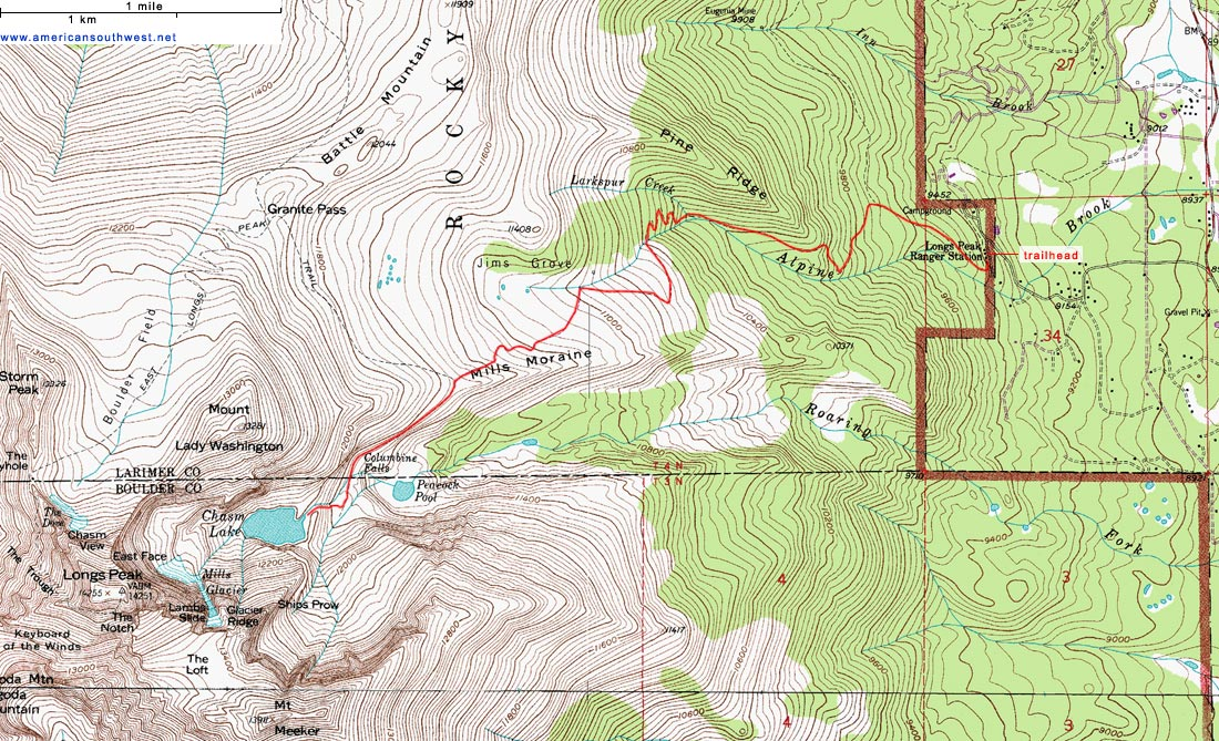 Topographic Map Rocky Mountains.Topographic Map Of Chasm Lake And Longs Peak Rocky Mountain