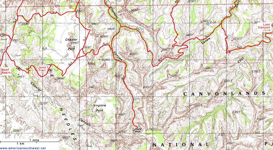 Topographic Map of Chesler Park and the Needles Canyonlands
