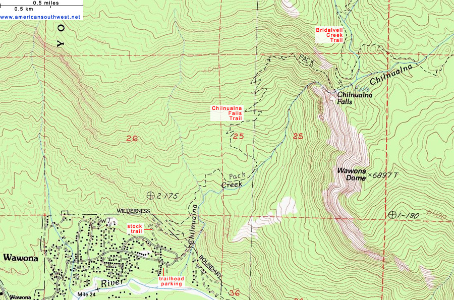 Map of the Chilnualna Falls Trail