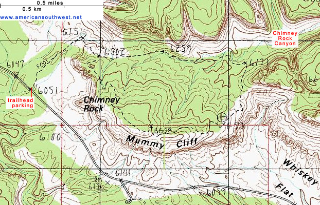 Map of the Chimney Rock Trail