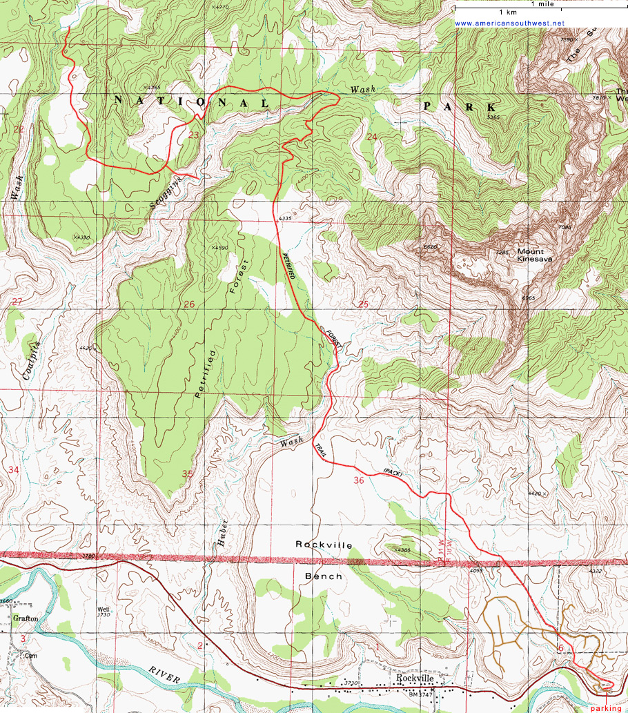 Topographic Map Of The Chinle Trail Zion National Park Utah - Map of zion national park