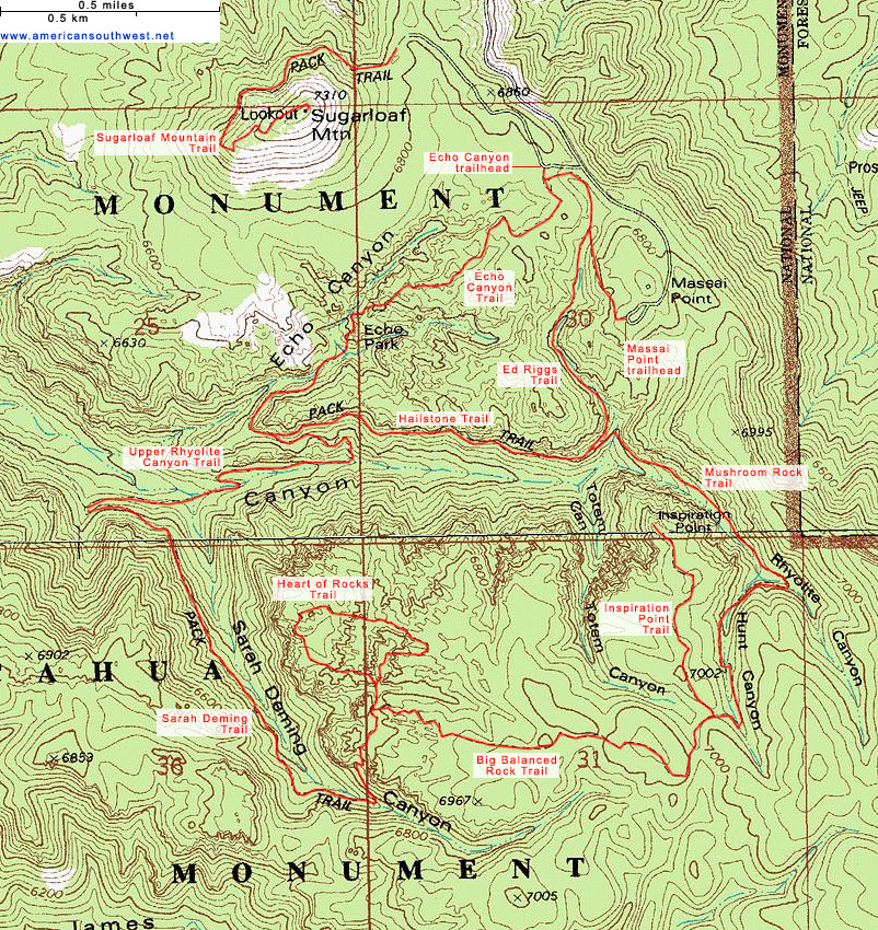 Topographic Map of the Big Loop, Chiricahua National Monument, Arizona