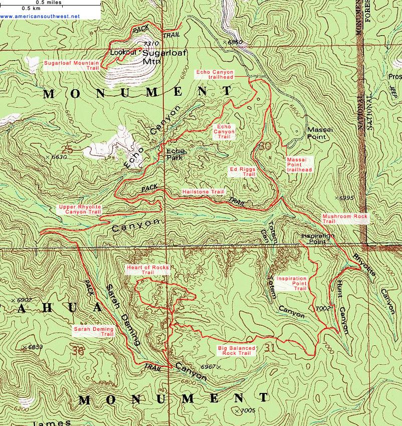 Topographic Map of the Big Loop, Chiricahua National Monument, Arizona