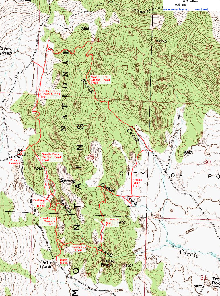 Topographic Map of the Circle Creek Loop, City of Rocks National