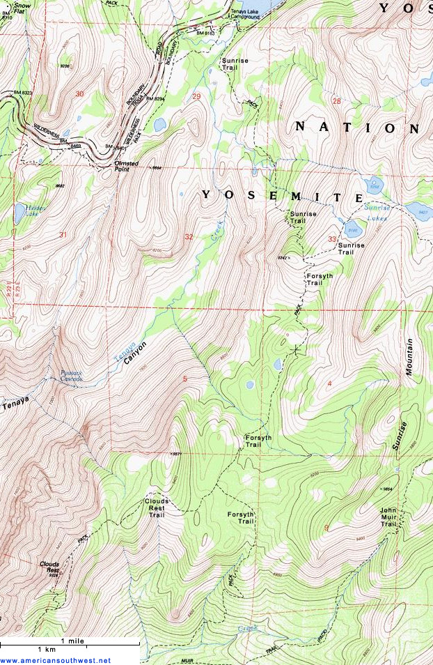 Topographic Map Of The Trail To Clouds Rest Yosemite