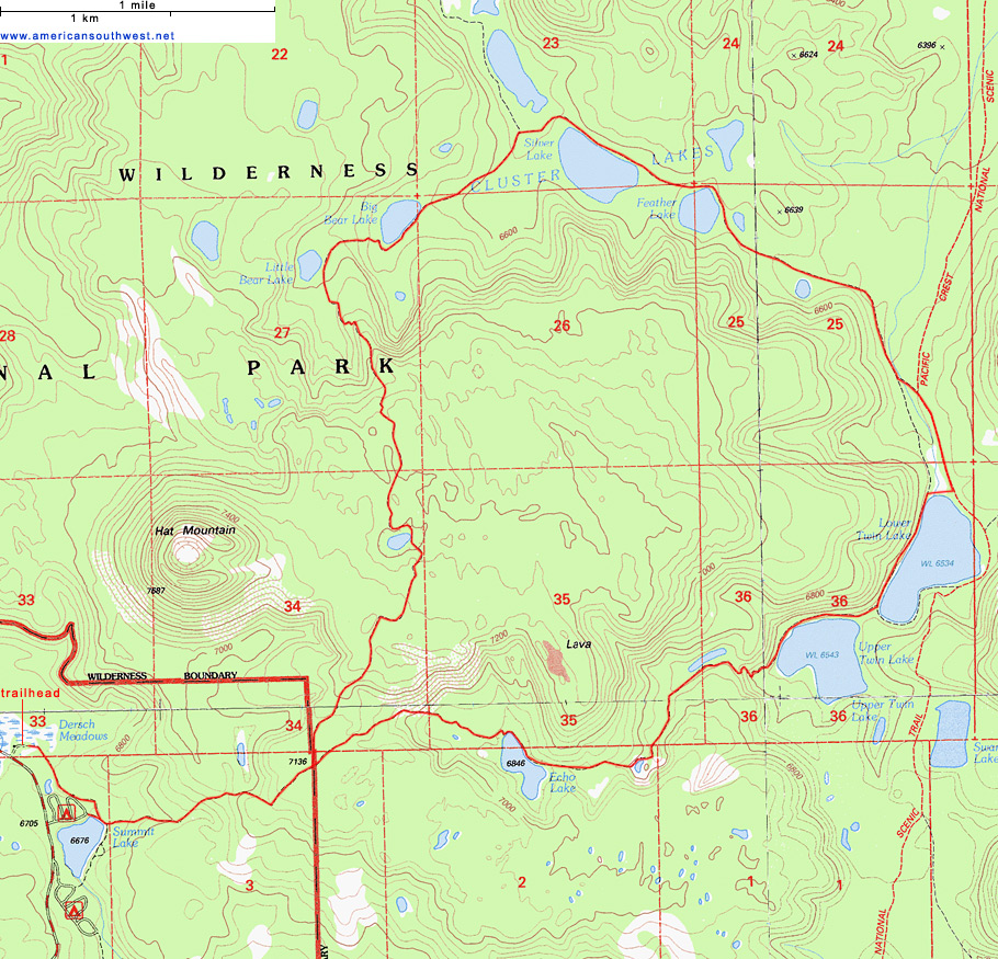 Topographic Map of the Cluster Lakes Loop Trail Lassen Volcanic