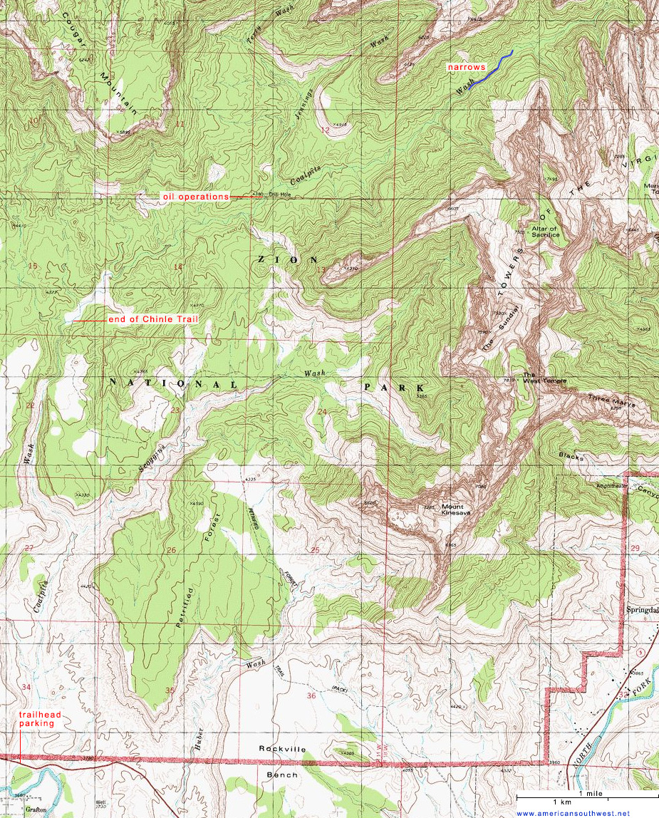 Topographic Map Of Coalpits Wash Zion National Park Utah - Wash map
