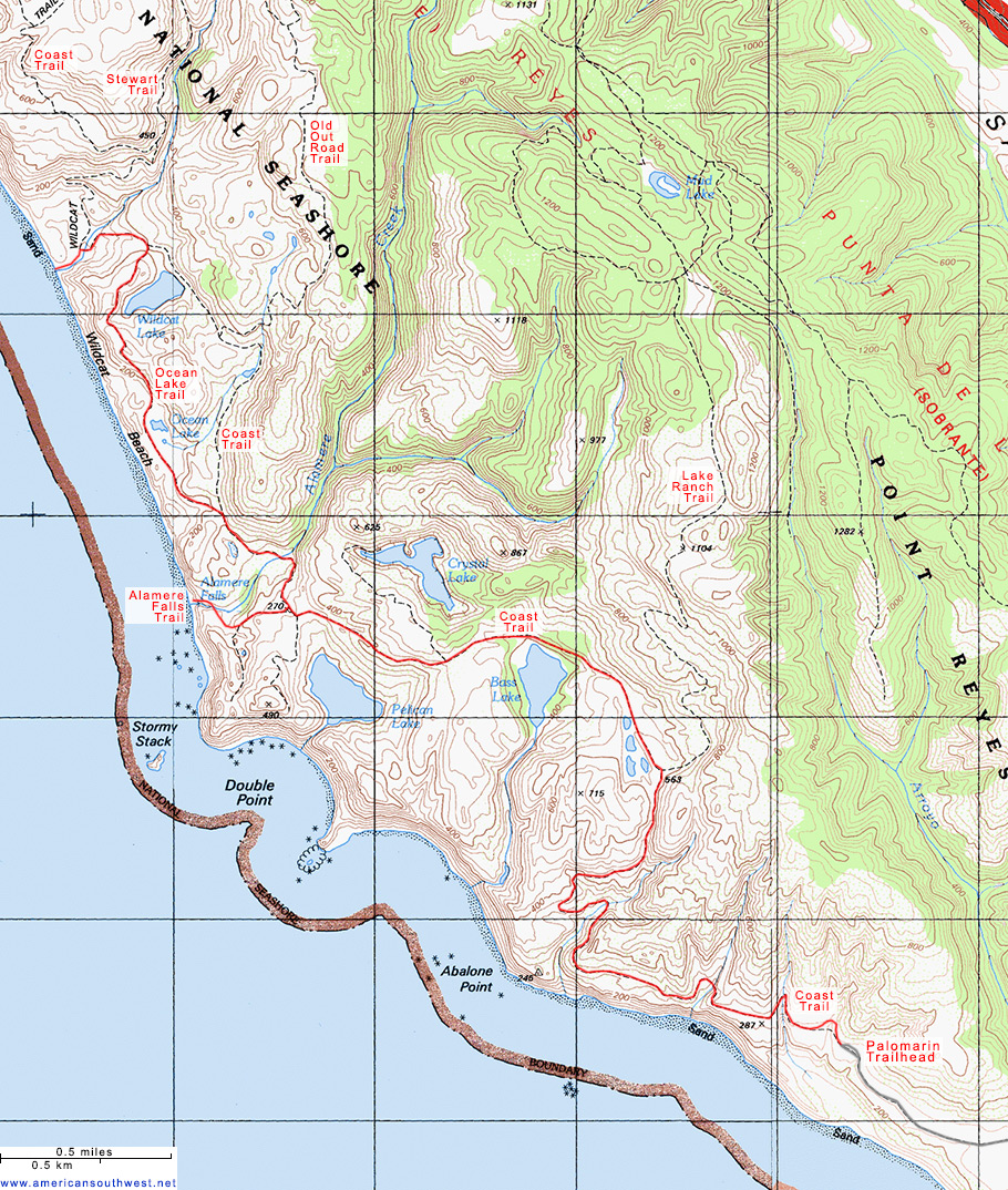 Map of the Coast Trail to Wildcat Beach