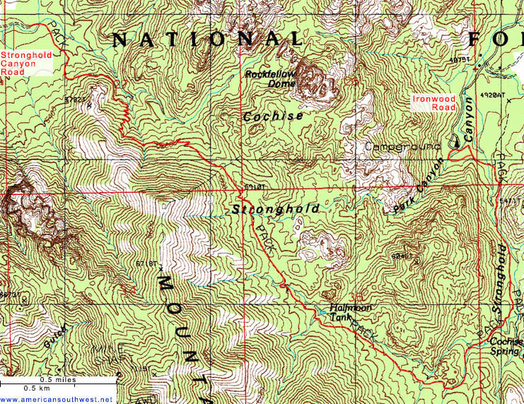 Map of the Cochise Trail