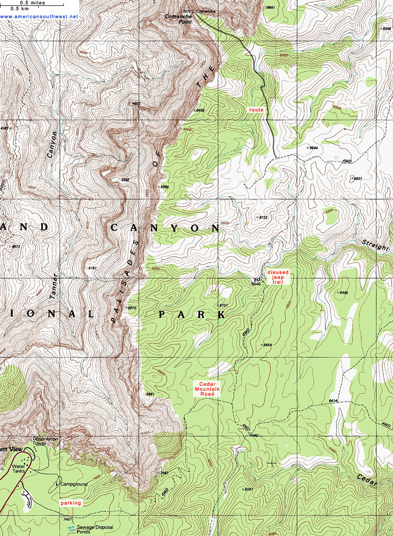 Topographic Map Of The Comanche Point Trail Grand Canyon