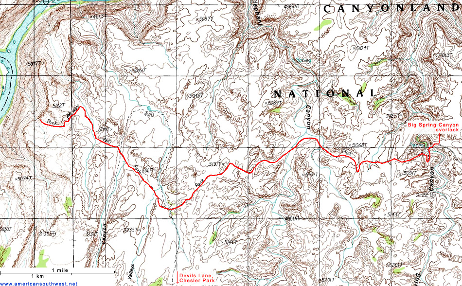 Topographic Map of the Confluence Overlook Trail