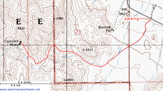 Topo map of the Contact Mine Trail