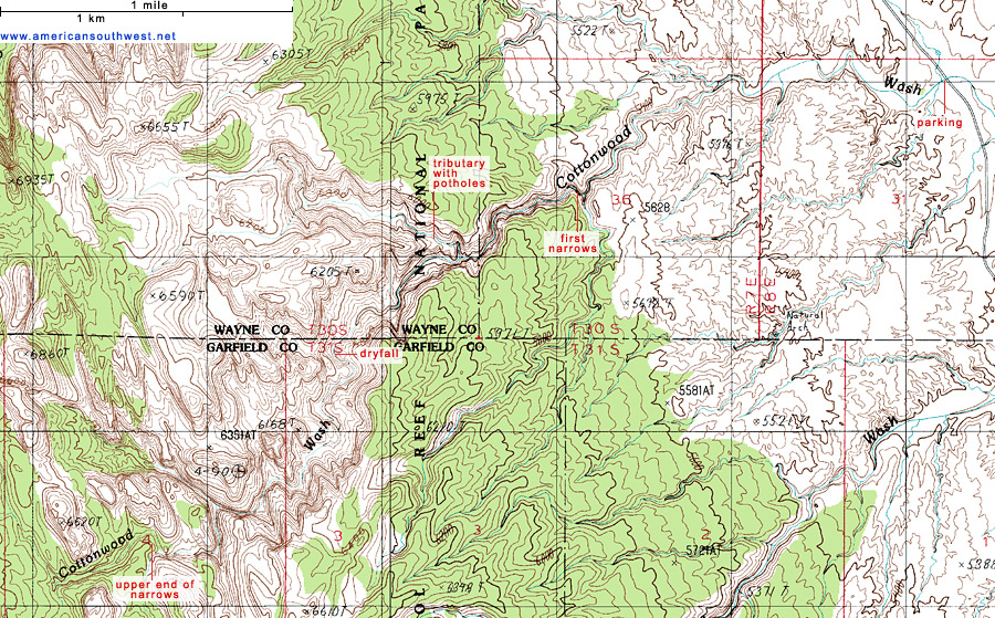 Topographical Map Of Utah Topographic Map of Cottonwood Wash, Capitol Reef National Park, Utah Topographical Map Of Utah