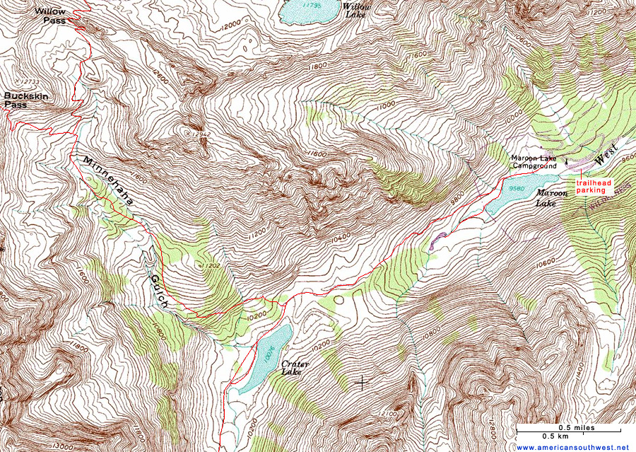 Crater Lake Topographic Map.Topographic Map Of The Crater Lake Trail Maroon Bells Snowmass