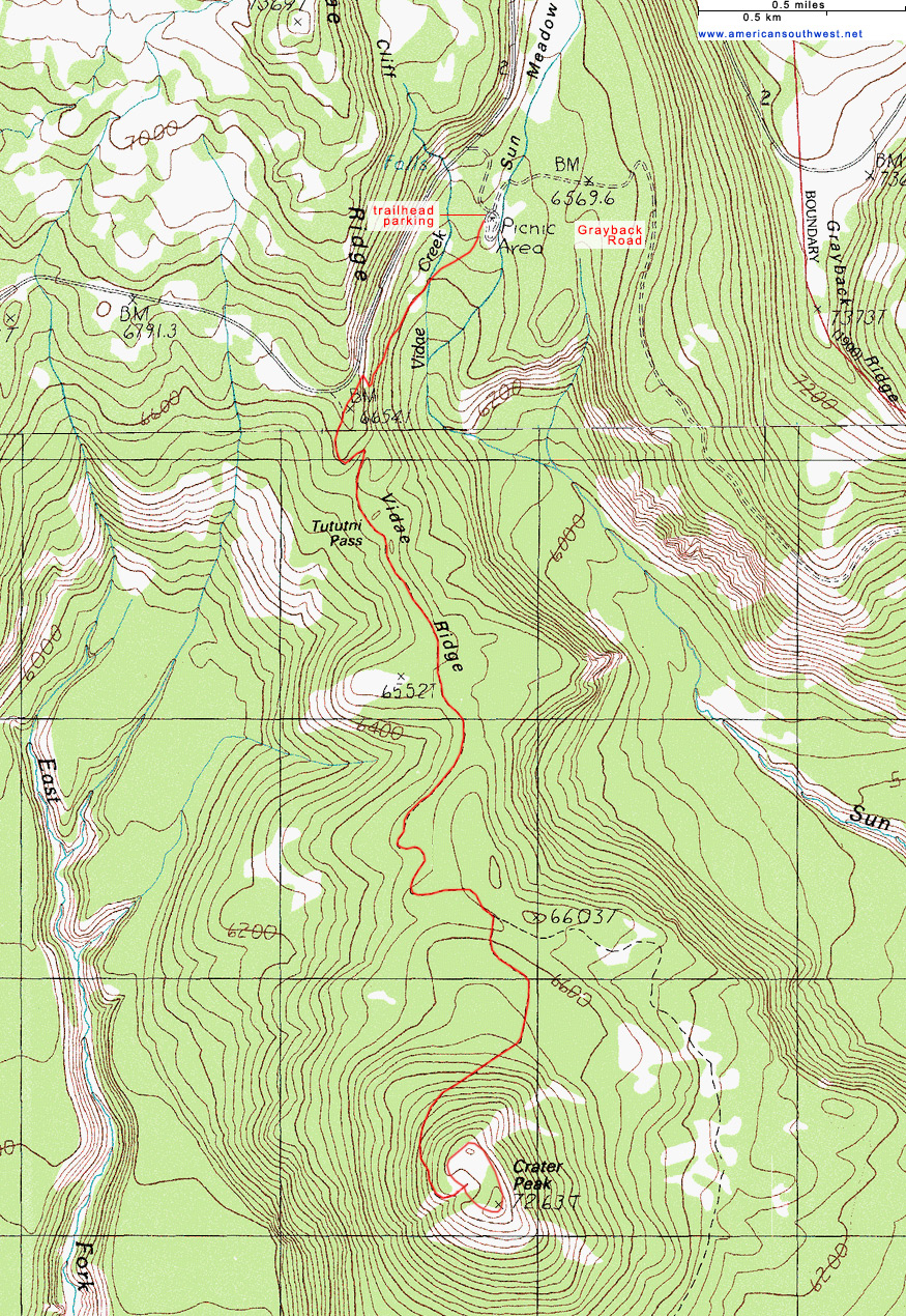 Topographic Map of the Crater Peak Trail Crater Lake National Park