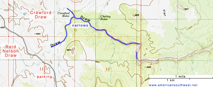 Topo map of Crawford Draw
