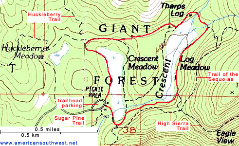 Topographic Map of the Crescent Meadow and Log Meadow Trails