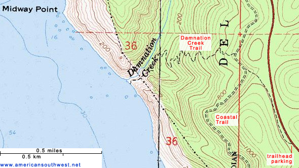 Map of the Damnation Creek Trail
