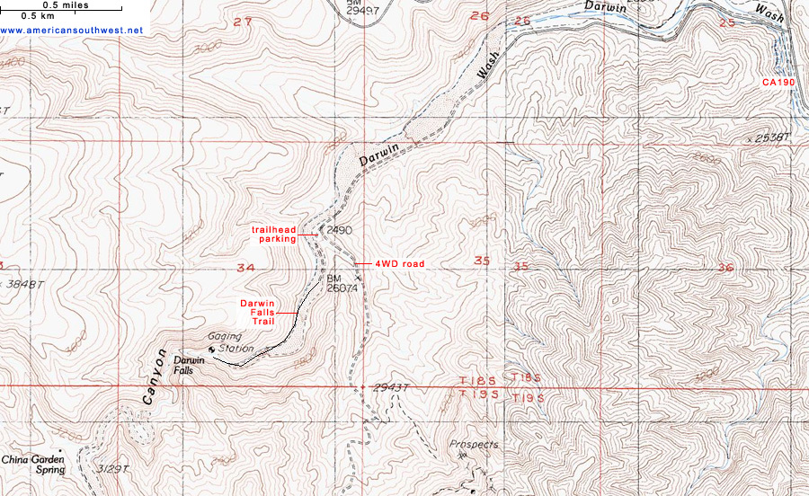Topographic Map of the Darwin Falls Trail Death Valley National