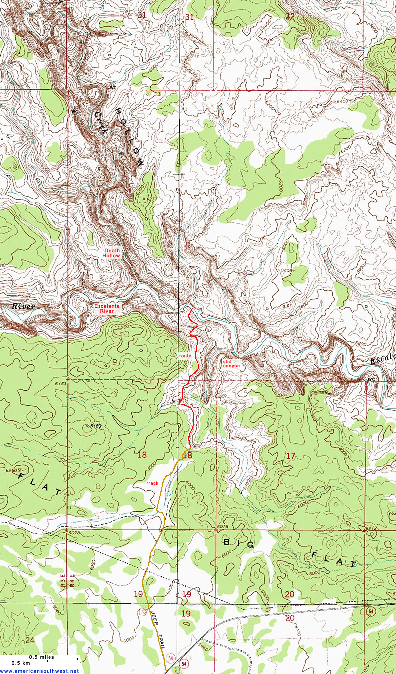 Topo Map of lower Death Hollow
