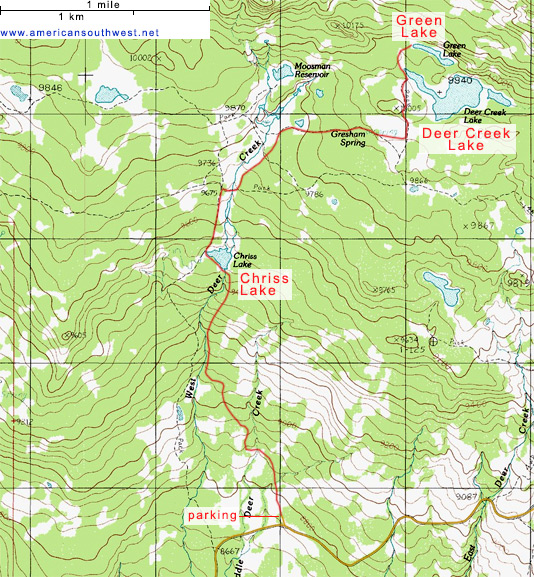 Topo map of the Deer Creek Lake Trail