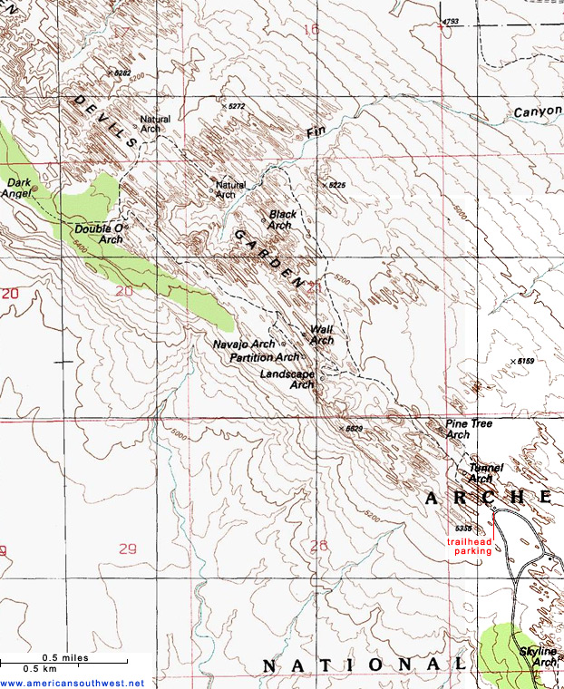 Topographic Map of the Devils Garden Trail Arches National Park Utah