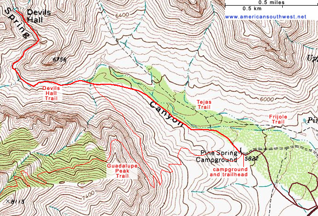 Topographic Map of the Devil's Hall Trail