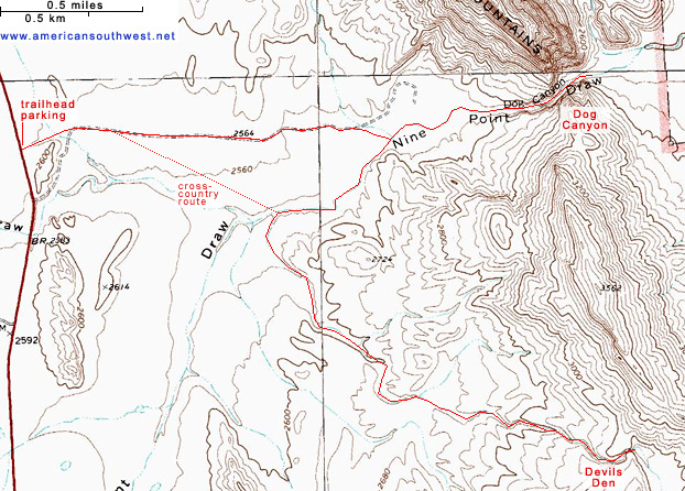 Topographic Map of the Trails to Dog Canyon and Devil's Den