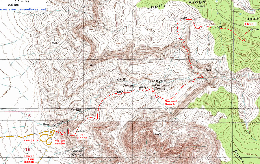 Map of Dog Canyon, Oliver Lee Memorial State Park