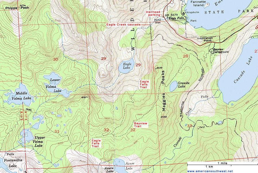 Topographic Map Of The Eagle Falls Trail Lake Tahoe California - Lakes in california map