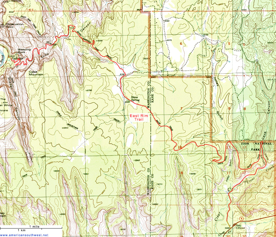 Topographic Map of the East Rim Trail, Zion National Park, Utah on