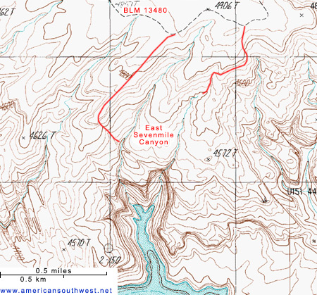 Map of East sevenmile Canyon