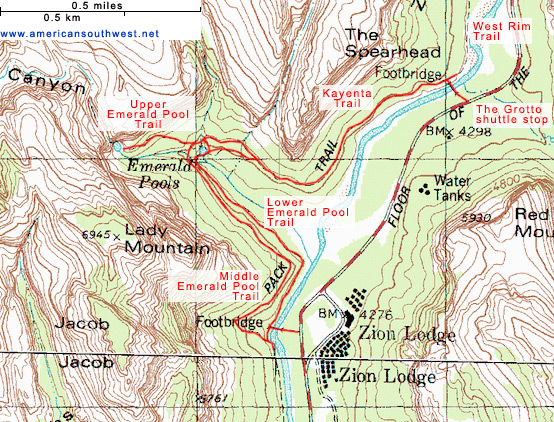 Map of the Emerald Pools and Kayenta Trails