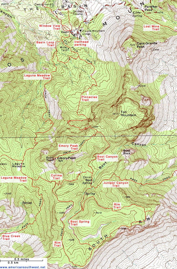Map of Emory Peak and the Chisos Mountains