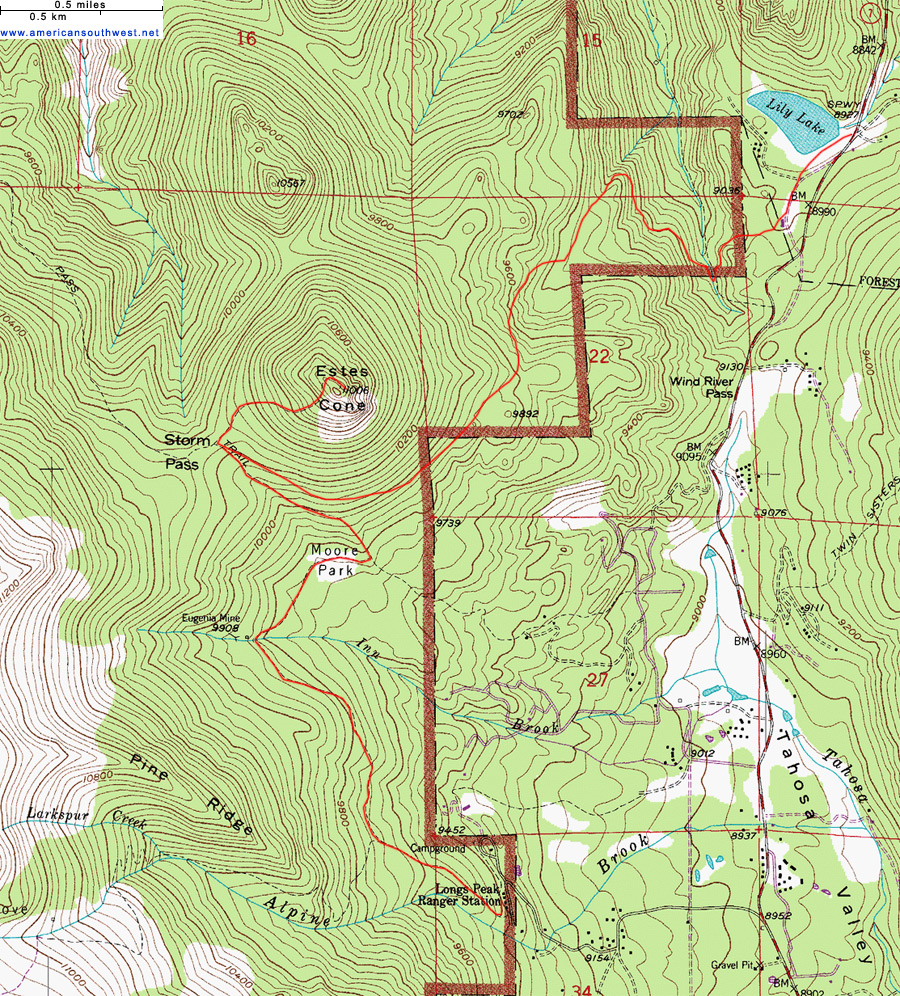 Topographic Map Rocky Mountains.Topographic Map Of The Estes Cone Trail Rocky Mountain National
