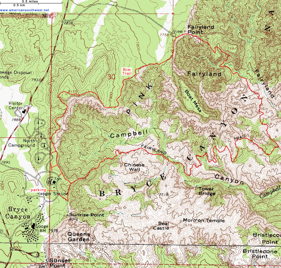 Topographic Map of the Fairyland Loop Trail Bryce Canyon National
