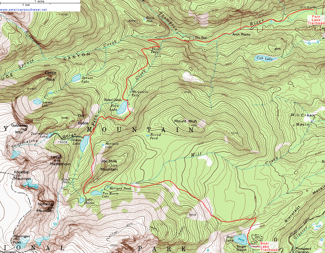 Topographic Map of the Fern Lake Trail, Rocky Mountain National Park ...