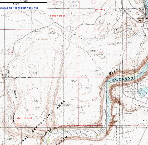 Topographic map of Ferry Swale Canyon