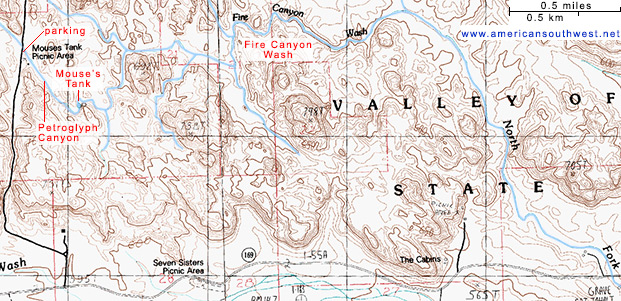 Topo Map of Fire Canyon Wash