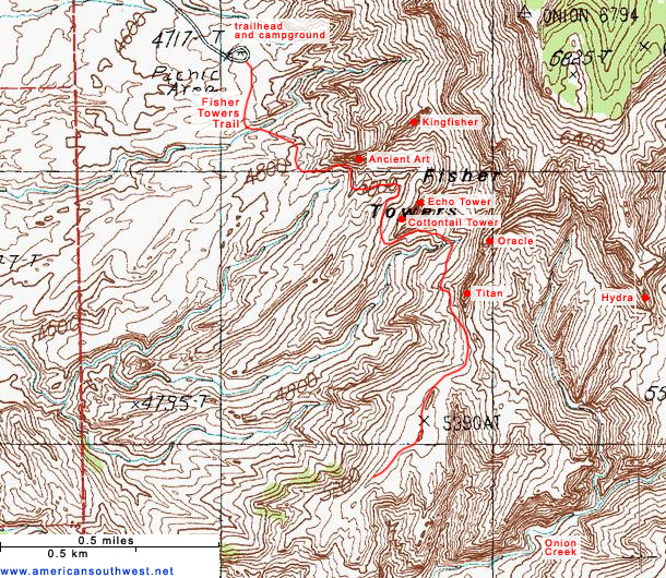 Topo Map of the Fisher Towers Trail