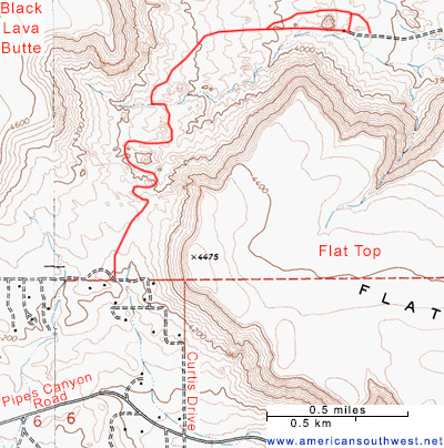 Map of the trail below Flat Top Butte