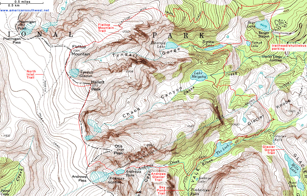 Topographic Map Rocky Mountains.Topographic Map Of The Trail To Flattop Mountain And Andrews Glacier