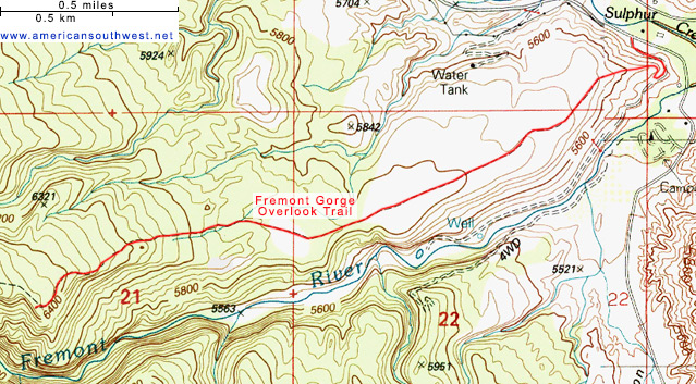 Map of the Fremont Gorge Overlook Trail