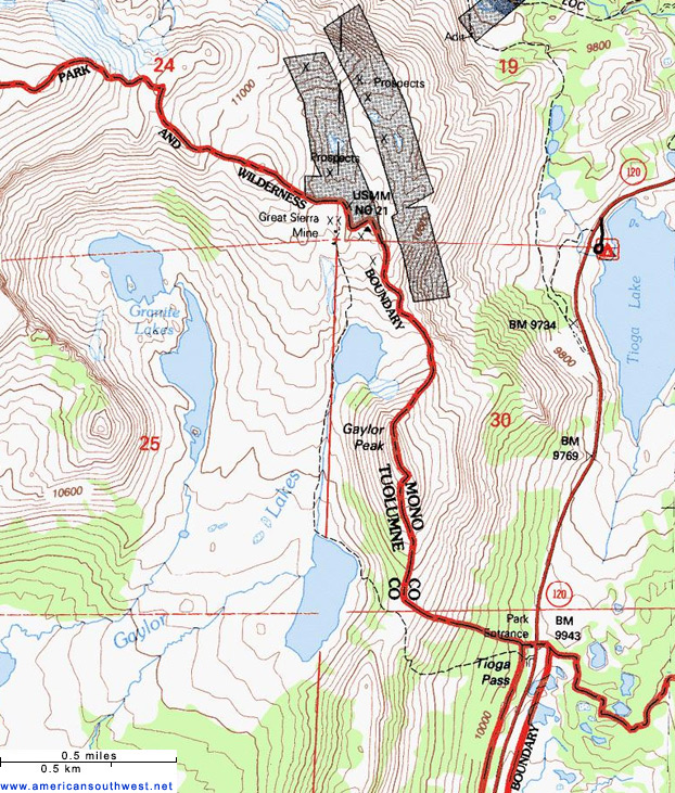 Map of the Gaylor Lakes Trail