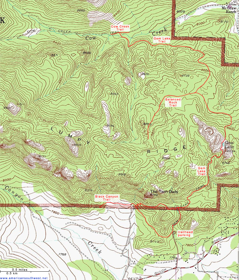 Topographic Map Rocky Mountains.Topographic Map Of Gem Lake And Balanced Rock Rocky Mountain